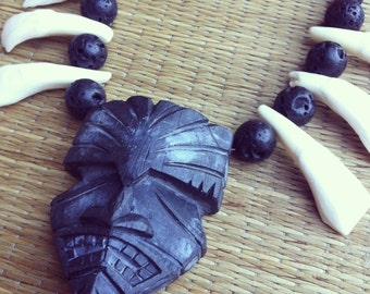 Original Doug Horne Design Tiki Pendant Buffalo Tooth Necklace Tiki Oasis VLV Pinup