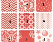 "Pair of Two 25"" Curtain Panels Coral & White Cotton Drapery Dandelion Ozborne Damask Gotcha Cosmo Suzani Zig Zag 63"" 84"" 96"" 108"" 120"""