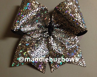 Black & Silver Shattered Glass Cheer Bow