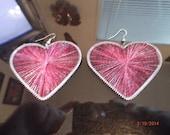 Metallic Hot Pink LargeThread Heart Earring Southwestern, Native, Gypsy, Boho, Belly Dancer, Sexy Great Gift Ready to Ship
