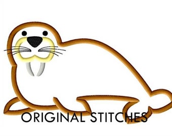 Walrus Applique and Machine Embroidery Digital Design File 4x4 5x7 6x10