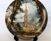 Poole Pottery plate depicting Salisbury Cathedral, by John Constable