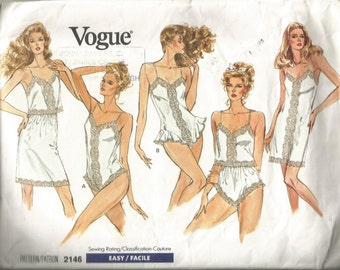 1988 Vintage Uncut Vogue Camisole Half Slip Panties and Teddy sizes 6 to 14