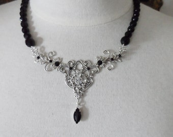 Black silver necklace black necklace wedding accessories bridal jewelry bridal accessories Victorian jewelry victorian necklace