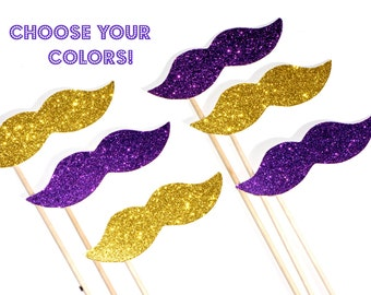 YOU CHOOSE COLOR School Spirit Glitter Mustache Collection - Set of 6 - You Choose School Colors - Graduation Parties, Homecoming