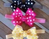 baby girl infant newborn toddler girl pink yellow black polka dot botique bow chevron headband chevron headband bow headband spring headband