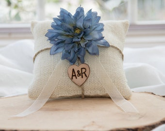 Blue fower burlap personalized ring bearer pillow  shabby chic with engraved heart  initials... many more colors available