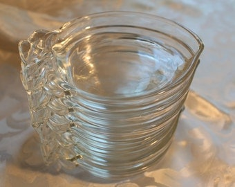Vintage Clear Glass Fruit Coasters Peaches Set of 7