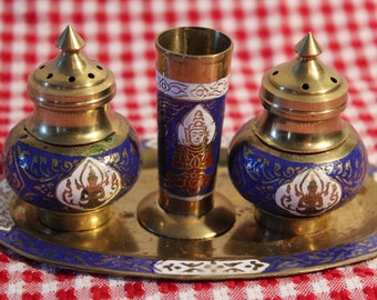 Brass Salt and Pepper Shaker Set with Toothpick holder and tray