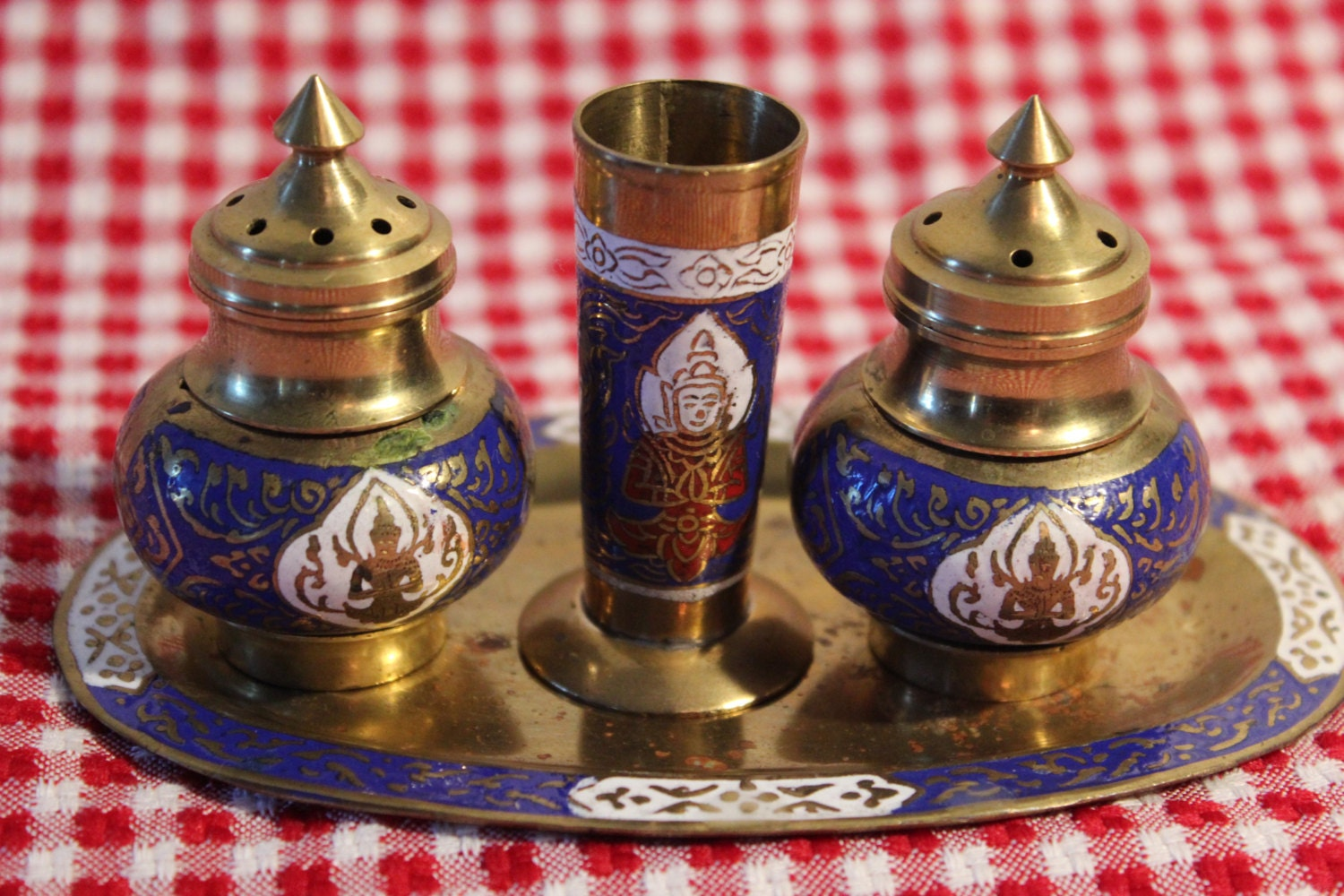 Brass Salt And Pepper Shaker Set With Toothpick Holder And