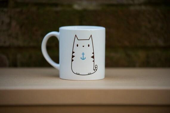 Tasse de thé impression café ancre chat mignon