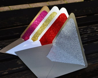 You Choose Color Glitter Lined Envelopes A6 Size - Set of 10