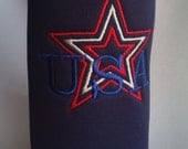 Patriotic USA water bottle cooler, soda bottle insulator, embroidered scuba foam, black ready to ship other colors on order.