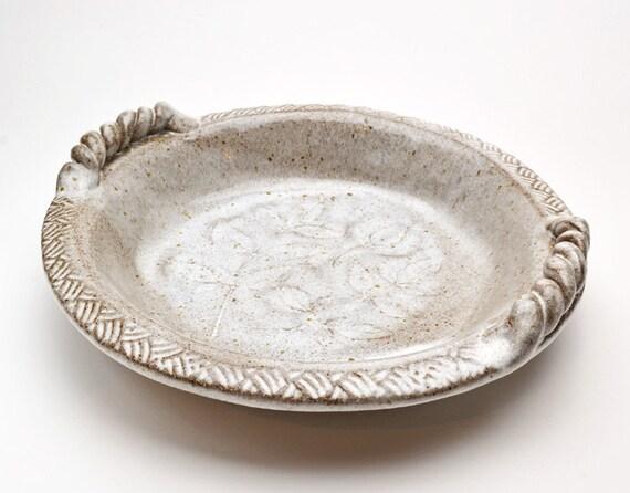 Stone Baking Dish : Stoneware round baking dish impressed leaves buttermilk glaze