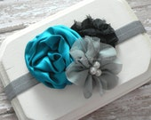Baby Headband - Elastic Headband - Newborn Headband - Photography Prop - Flower Headband - Baby Girl Headband - Black and Teal Headband - simpledesignbows