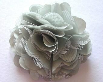 "Grey Hair Flower - Grey Flower Clip - Hair Clip or Brooch - 3"" OLIVIA FLOWER - Satin Flower - Hair Flowers"