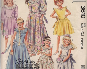 1988 Sewing Pattern McCall's 3610 girls dress or gown size 10-12-14 bust 28.5-32