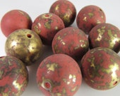 12 Vintage 16mm Matte Cinnabar and Bronze-Gold Tribal Ethnic Asian Round Lucite Beads Bd1244