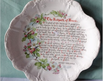 Vintage Poem Plate The Footpath of Peace