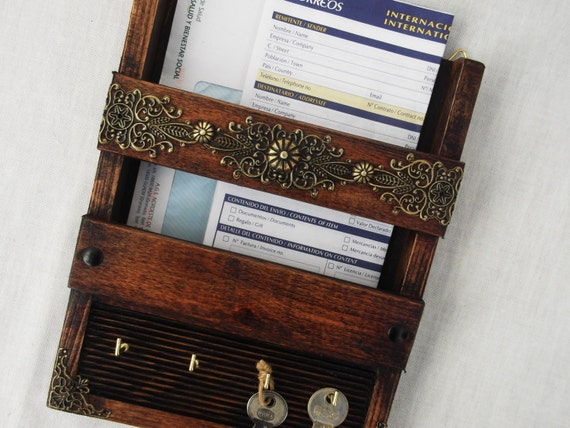 Rustic mail holder and key rack wall hanging handcrafted - Wooden letter and key holder ...