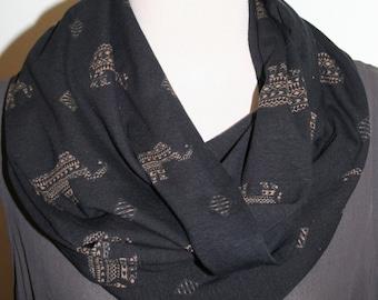 "Infinity Scarf Brown Black Chunky Aztec Elephant Jersey knit Loop Scarf 9"" x 64"" L -Bohemian"