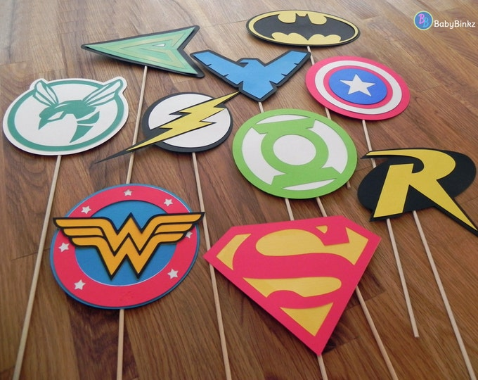 Photo Props: The Superhero Logo Set (10 Pieces) - party wedding birthday die cut super hero mask superman america batman wonder woman