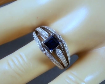 Sapphire Ring with Micro Pave Set Diamonds 1.17Ctw White Gold 14K 6.1gm Size 6.5 Wedding Engagement