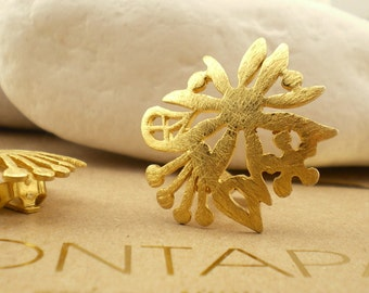 """Gold Plated Sterling Silver Clip Earrings - """"Spring"""""""