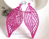 Painting Series- 25x59mm Pretty Hot Pink Leaf Wooden Charm/Pendant MH225 06