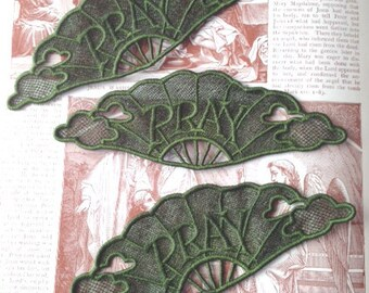 Large Lace Pray Bookmark, Machine Embroidered Pray Bookmark, Bible Lace Bookmark, Lace Embroidery, Bible Bookmark