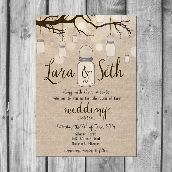 Wedding Invitations Mason Jar: Hanging Mason Jar Wedding Invitation Set