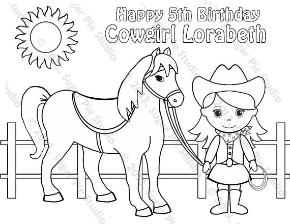 ON SALE Personalized Printable Cowgirl Horse Birthday Party