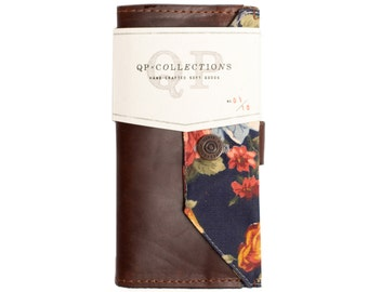 Women's - Handmade Brown Leather Floral Wallet