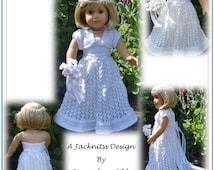 22 American Girl Doll. Top Down Wedding Dress  PDF Knitting Pattern