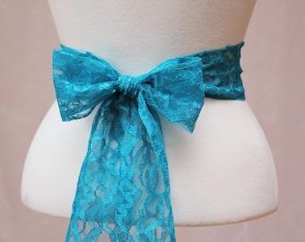 Deep Turquoise/ Teal Lace Wedding Simple Sash/ Flower Girl Sash/ Handmade Accessory
