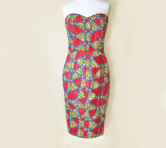 Red & Blue African Print Retro Style Bustier Strapless Pencil Skirt Dress