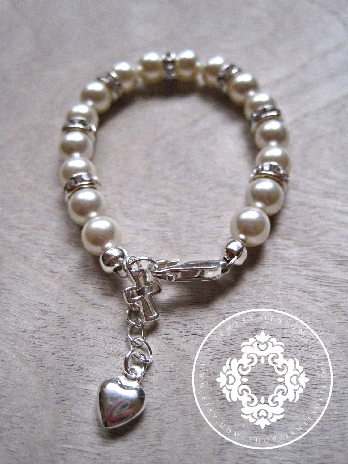 Infant Swarovski Baby Bracelet Gift Set For Baptism Blessing