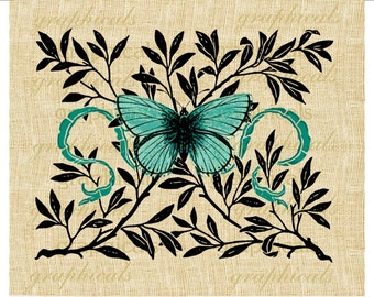 Butterfly instant clip art Aqua Instant digital download image for iron on fabric transfer paper burlap decoupage pillow tags Item No.  2147