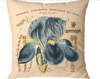 Create a designer pillow Instant graphic clip art Digital image Blue iris flower French for iron on transfer burlap totebag cards. No. C33