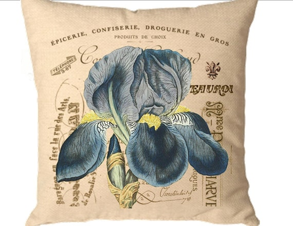 Create a designer pillow Instant Digital download image Blue iris flower French ephemera for iron on transfer burlap totebag cards. No. C33