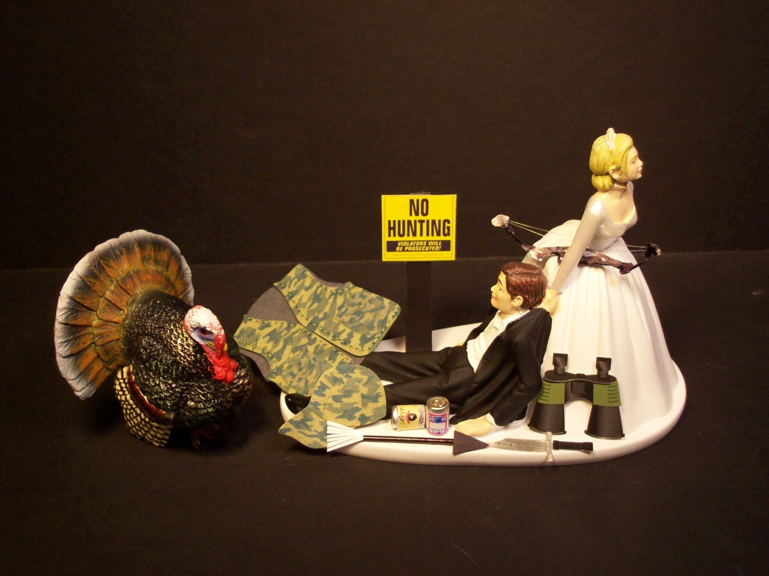 Turkey Hunting Wedding Cake Toppers