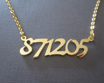 Personalized Gold Number Necklace