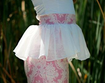 Pink Damask Peplum Skirt