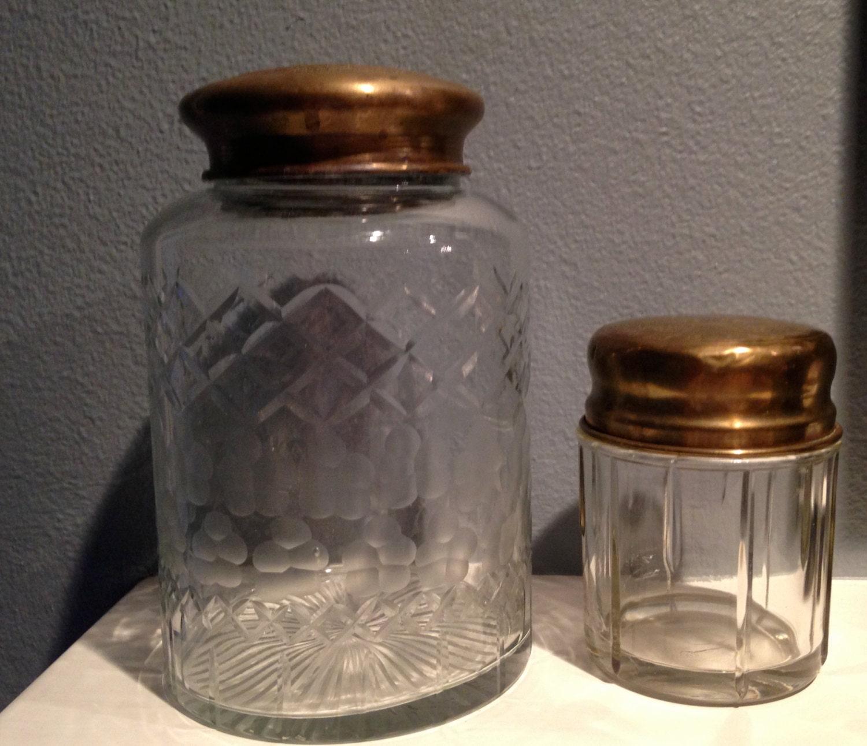 vintage pair of cut glass etched jars brass lids glass jar. Black Bedroom Furniture Sets. Home Design Ideas