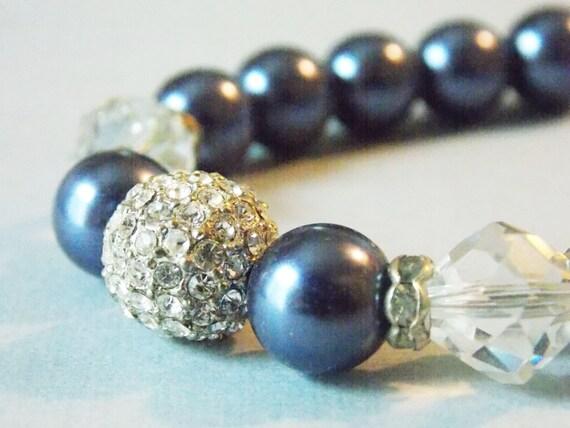 Navy Blue Wedding Jewelry Bridesmaids Navy Blue Bracelet Dark Blue Bridal Party Jewelry Sparkly Bridesmaids Jewelry Wedding Party Gifts