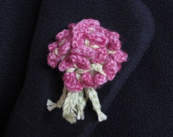 Crocheted Borage Brooch - Pink