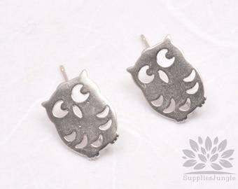 SALE!!! E180-MR// Matt Rhodium Plated Cute Owl Earring Post, 2pcs