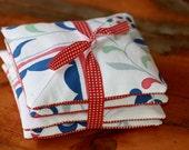 Lavender Sachet, simple lines, vintage table cloth, pleats, royal blue, fuschia