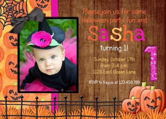 Hot Pink and Orange Halloween Birthday Invitation
