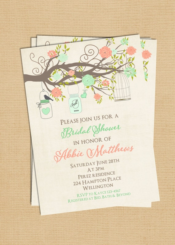 Mint and Coral Bridal Shower Invitation with Birdcage Mason Jar and Bird Vintage Style